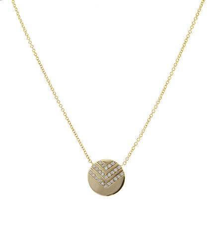 One Jewelry Chevron Gold Disk Necklace with Diamonds
