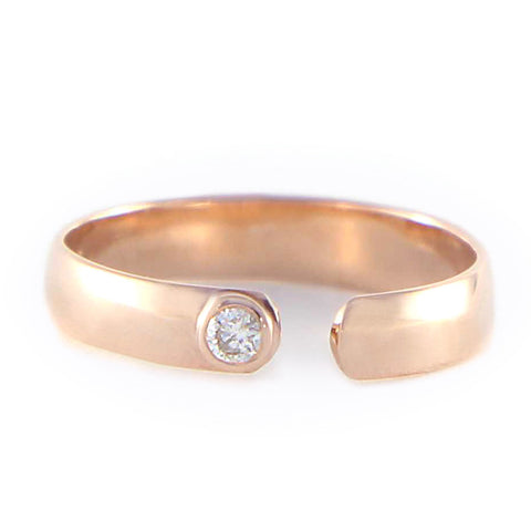 One Jewelry Open Rose Gold Knuckle Ring With Diamond