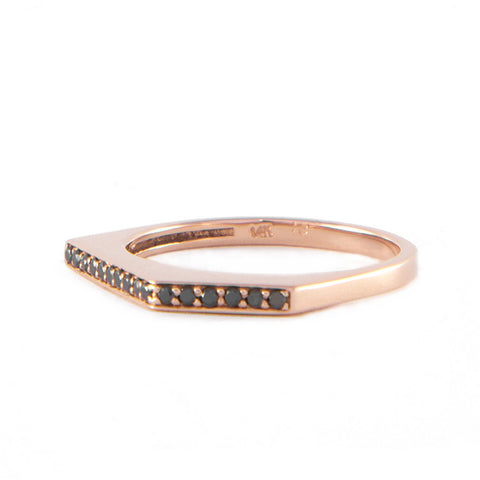 One Jewelry Rose Gold Angular Ring With Black Diamonds