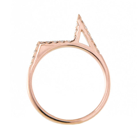 One Jewelry Rose Gold Architectural Spike Ring With Diamonds