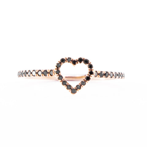 One Jewelry Rose Gold Heart Ring With Black Diamonds