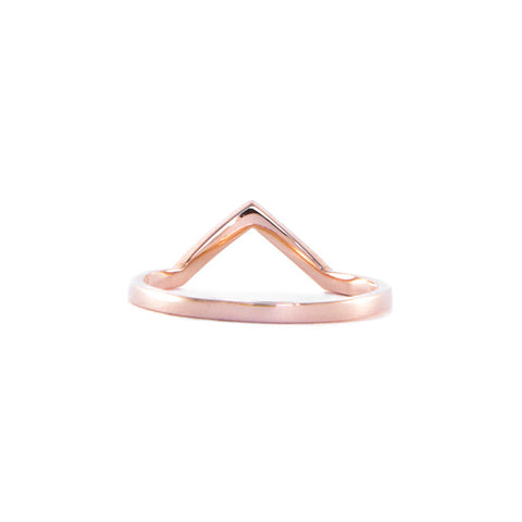 One Jewelry Rose Gold Pointed Arch Ring With Diamonds
