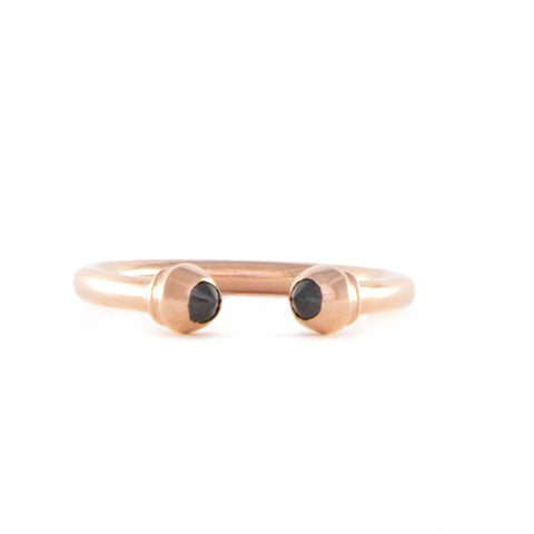 One Jewelry Open Rose Gold Ring With Pointed Black Diamonds