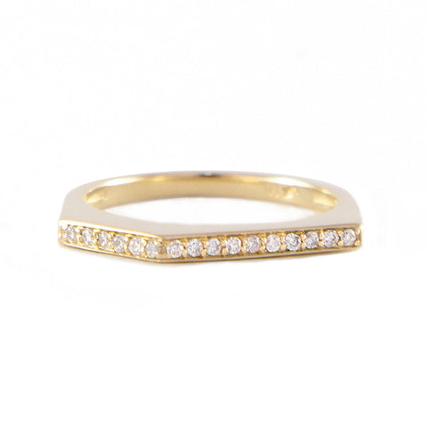 One Jewelry Yellow Gold Angular Ring With Diamonds