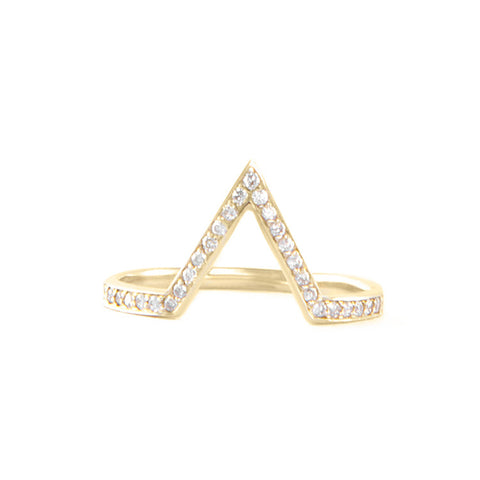 One Jewelry Yellow Gold Deep Pointed Arch Ring With Diamonds