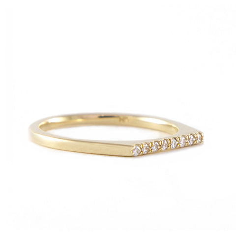 One Jewelry Yellow Gold Flat Top Ring With Diamonds