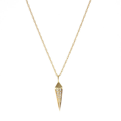 One Jewelry Yellow Gold Spear Necklace With Diamonds