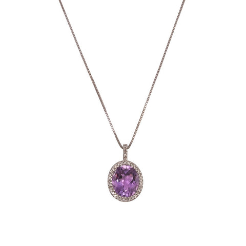 Amethyst Oval Pendant Necklace with Diamonds