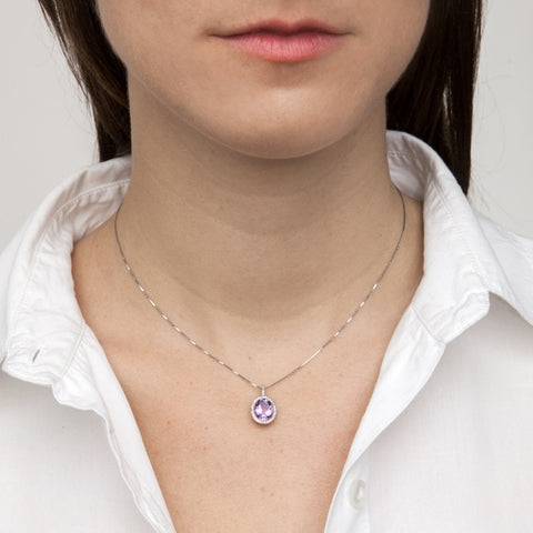 Amethyst Oval Pendant Necklace with Diamonds on model