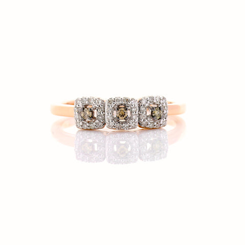 Brown and White Three Diamond Ring