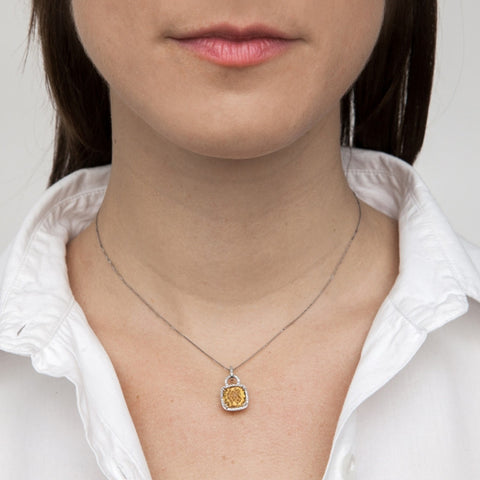 Citrine Cushion Pendant Necklace with Diamonds on model