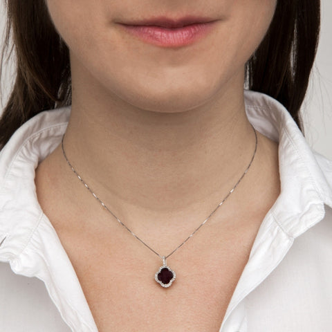 Garnet Clover Pendant Necklace with Diamonds on model