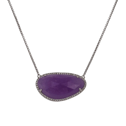 Lavender Jade Necklace with Diamonds
