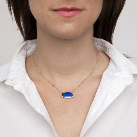 Blue Opal Pendant with Diamond on model