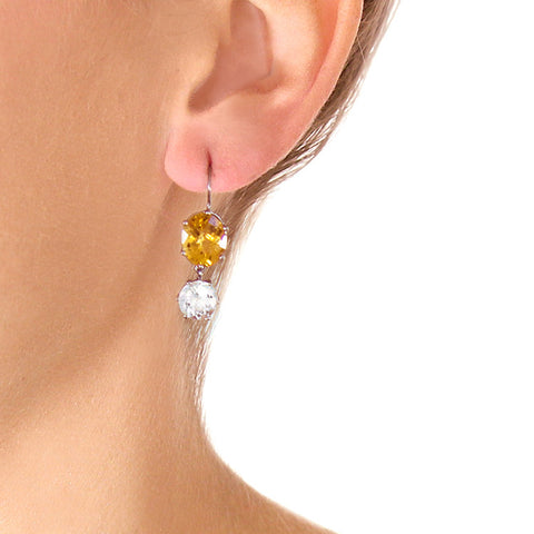 Roger Benatar Citrine and Aquamarine Statement Earrings on model