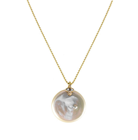 Roger Benatar Coin Pearl Necklace with Diamonds