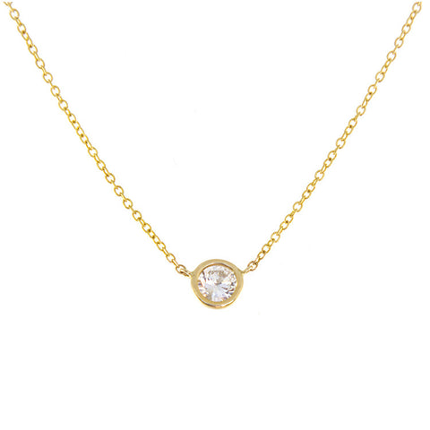 Roger Benatar Classic Diamond Stud Necklace in Yellow Gold