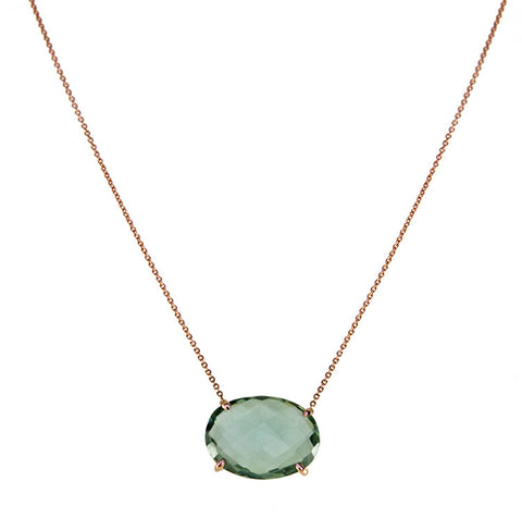 Roger Benatar Green Amethyst Necklace in Rose Gold