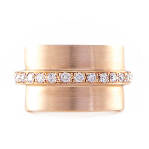 Roger Benatar Sculptural Rose Gold Ring with Band of Diamonds