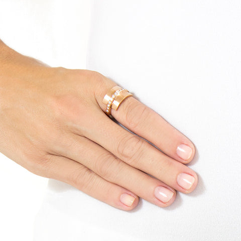 Roger Benatar Sculptural Rose Gold Ring with Band of Diamonds on model