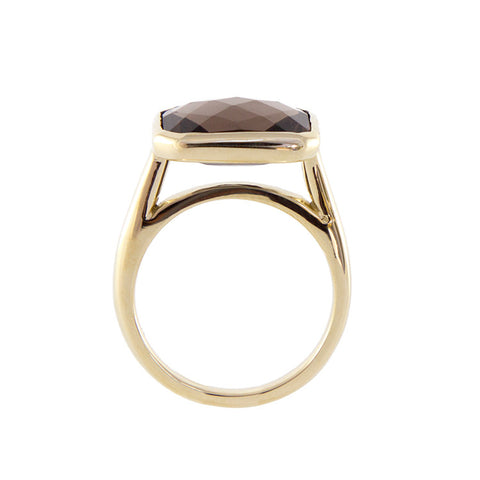 Roger Benatar Square Yellow Gold Smoky Topaz Cocktail Ring
