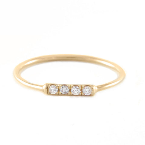 Roger Benatar Small Gold Ring with Four Diamonds