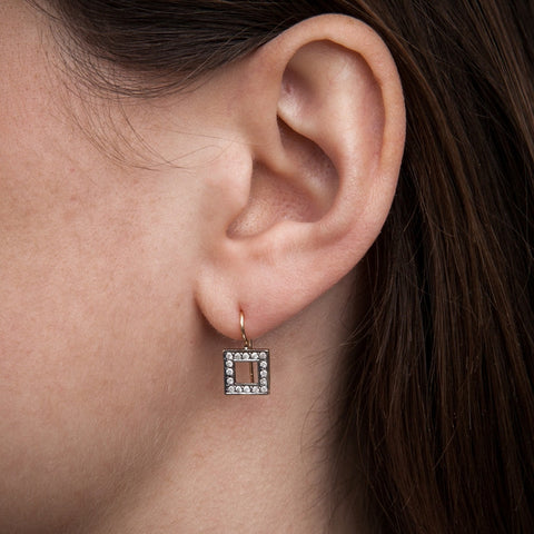 Square Diamond Drop Earrings on model