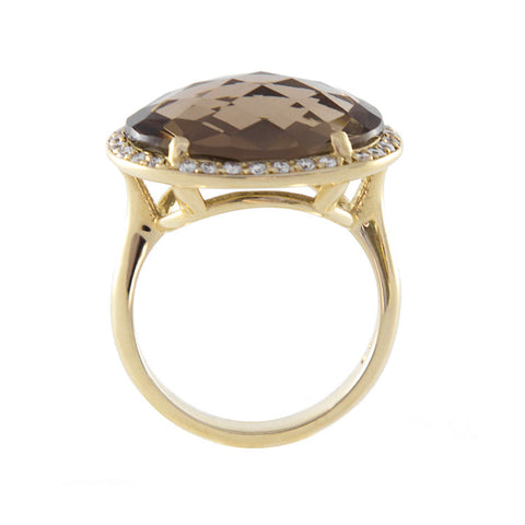 Roger Benatar Yellow Gold Smoky Topaz Cocktail Ring with Diamonds