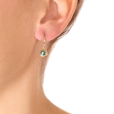 Roger Benatar Tiny Green Sapphire Drop Earrings on model
