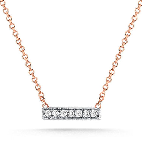 Sylvie Rose Mini Diamond Bar Necklace in Rose Gold
