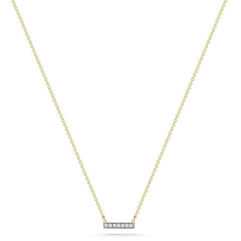 Sylvie Rose Mini Diamond Bar Necklace in Yellow Gold