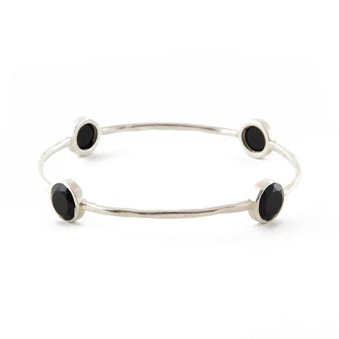 Sterling Silver Black Onyx Bangle
