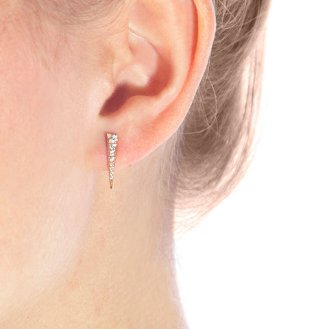 Rose Gold Diamond Spike Studs on model