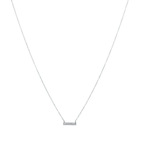 Sylvie Rose Mini Diamond Bar Necklace in White Gold