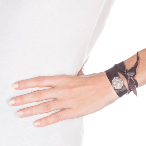 Lambskin Leather And Diamond Wrap Bracelet on model