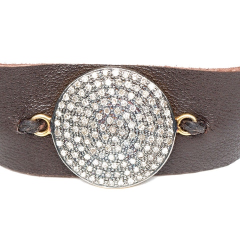 Lambskin Leather And Diamond Wrap Bracelet close up