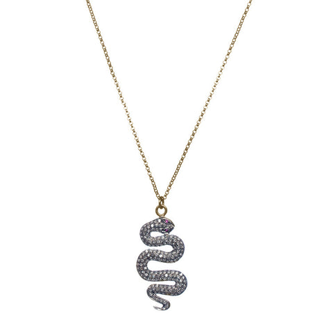 Diamond Snake Necklace with Ruby Accent