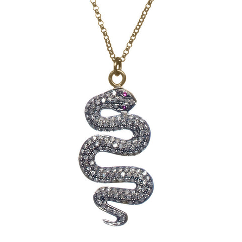 Diamond Snake Necklace with Ruby Accent Close Up