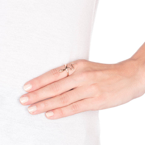Ruby Eyes Rose Gold Snake Ring on model