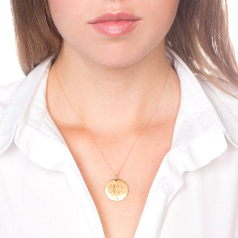 Medium Antiqued Gold Vermeil Disc With Initials And Diamond Necklace on model