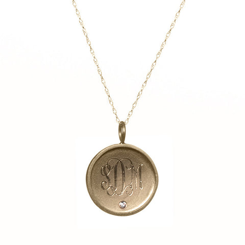Medium Framed Gold Disc With Initials And Diamond Necklace