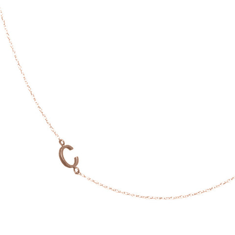 Tiny Sideways Gold Initial Necklace