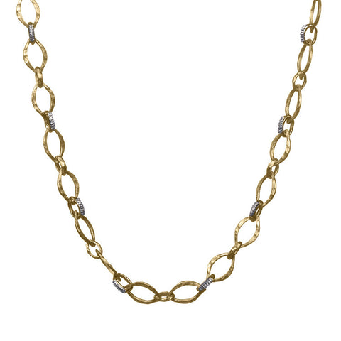 Gold Marquis Link Chain with Diamonds