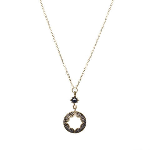 Crater Necklace with Black Diamonds Close Up