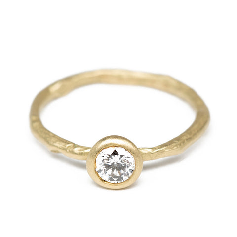 Twig Solitaire Diamond Gold Ring