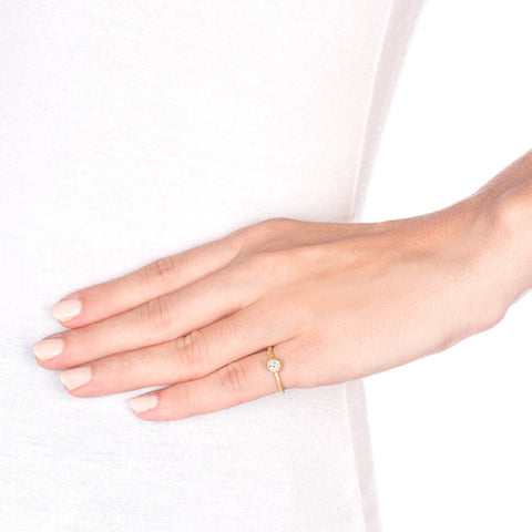 Twig Solitaire Diamond Gold Ring on model