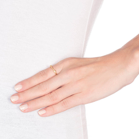 Gold Daisies Stacking Ring on Person