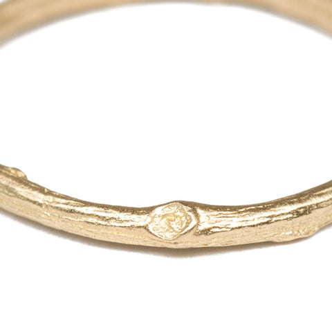 Gold Twig Stacking Ring Close Up