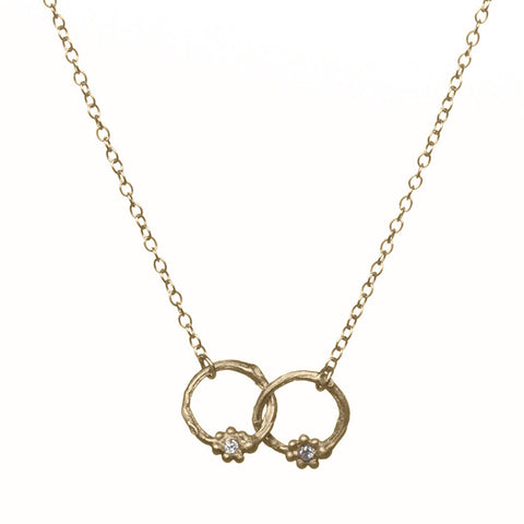 Interlocking Gold Necklace with Diamonds