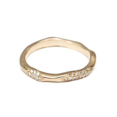 Wavy Gold Band With Diamonds